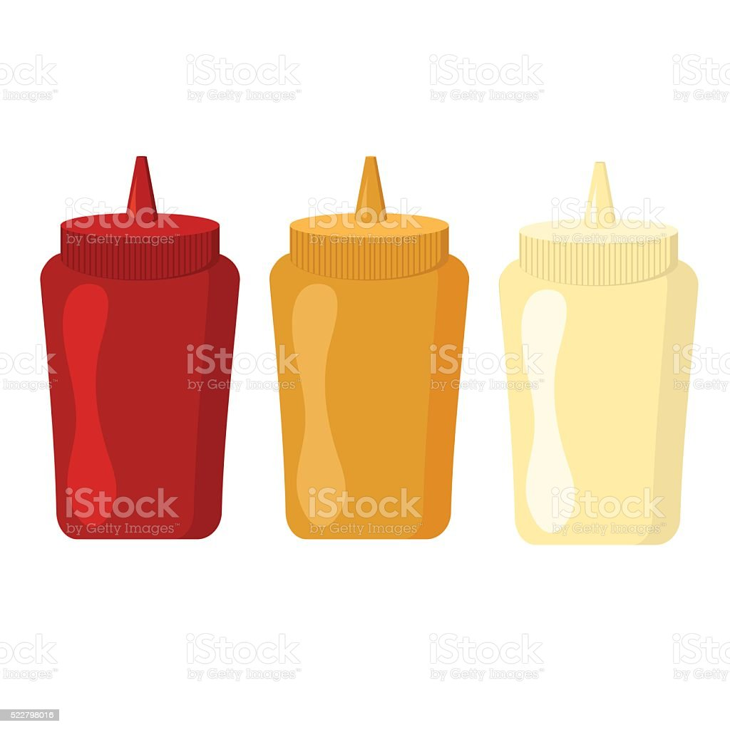 Ketchup mustard and mayonnaise bottles with spicy delicious sauce vector vector art illustration
