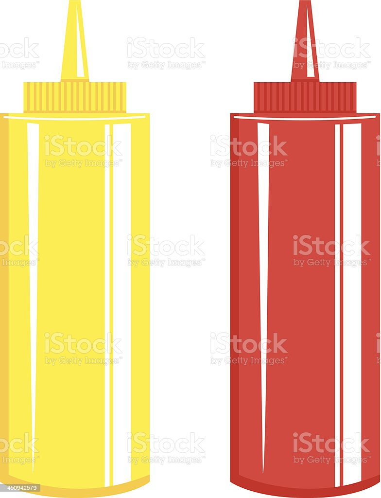 Ketchup & Mustard Bottle vector art illustration