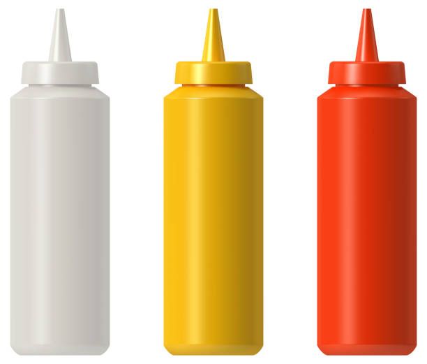 Ketchup mustard mayo plastic squeeze bottle RGB vector illustration, Illustrator 8 EPS - created with gradient mesh, 3D model with studio lighting and pathtracing render used for reference ketchup stock illustrations