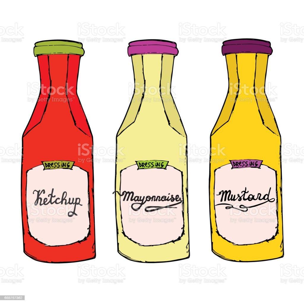 Ketchup Senf Mayonnaiseflaschen Verschiedene Gewürze Mit Buchstaben ...