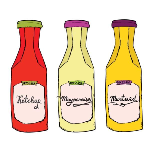 ketchup, senf, mayonnaise-flaschen. verschiedene gewürze mit buchstaben. - dressing stock-grafiken, -clipart, -cartoons und -symbole