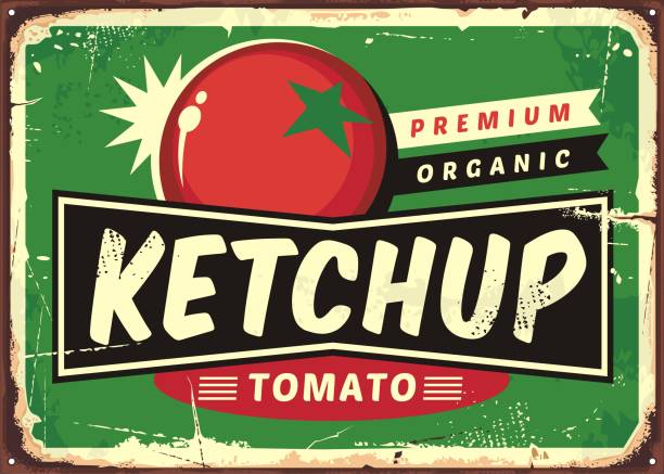 Ketchup retro sign with juicy tomato Ketchup retro sign with juicy tomato on green background. Vector illustration. tomato sauce stock illustrations