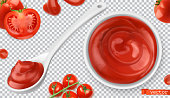 Ketchup, tomato. Pasta sauce 3d vector realistic set