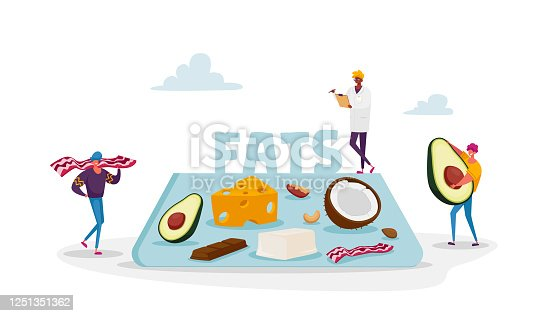 Keto Diet Concept. Characters Carry Products with Low Carb and High Fat Level, Healthy Ketogenic State for Fasting and Healing. Doctor Writing Notes for Dieting. Cartoon People Vector Illustration