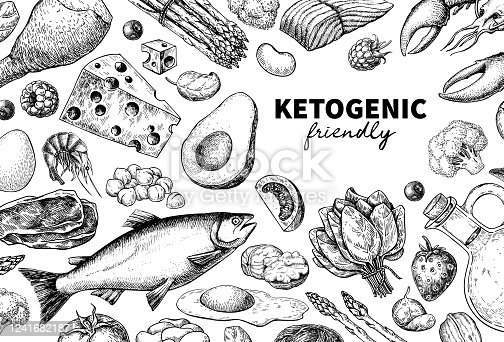 istock Keto diet vector drawing. Ketogenic hand drawn template. Vintage engraved sketch 1241682187