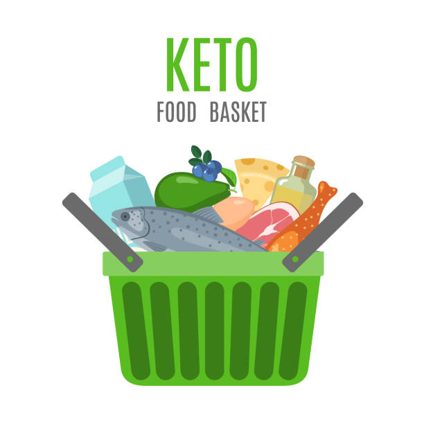 keto food basket in flat style on white. - paleo diet stock illustrations, clip art, cartoons, & icons