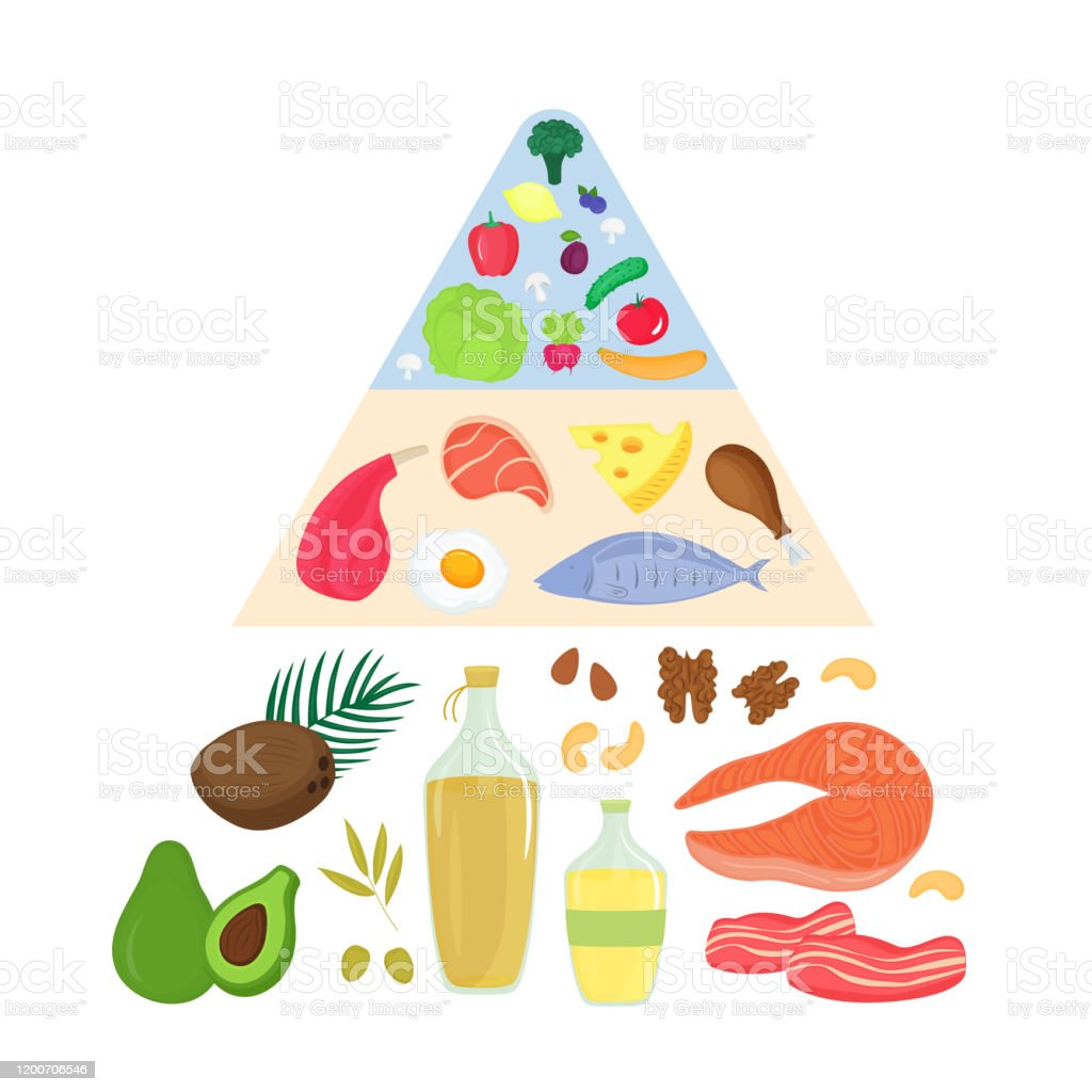 Keto Food Pyramid Ketogenic Nutrition Concept Low Carb High Fat Diet Meat Fish Vegetables Fruits Oils Stock Illustration Download Image Now Istock