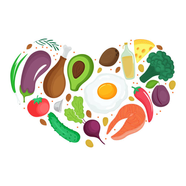 keto foods: vegetables, nuts, meat, fish. heart shaped banner. ketogenic nutrition. - paleo diet stock illustrations, clip art, cartoons, & icons