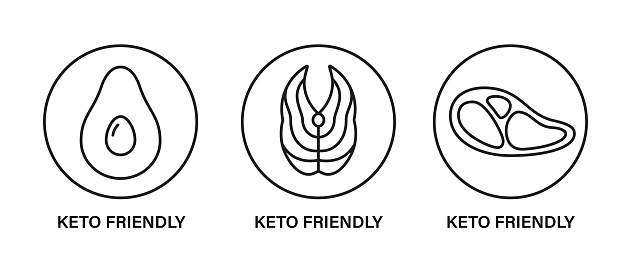 Keto friendly stamp. Healthy eating, ketogenic, paleo and low carb high fat diet icons. Avocado, tuna and meat steak. Isolated vector illustration on white background