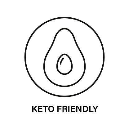 Keto friendly stamp. Healthy eating, ketogenic, paleo and low carb high fat diet icons. Avocado icon. Isolated vector illustration on white background