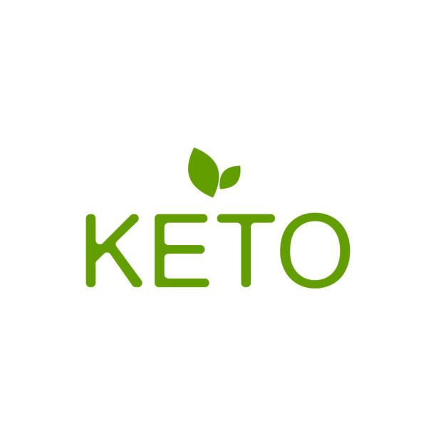 Keto inscription with leaf. Diet vector art illustration