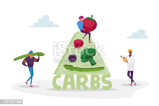 Ketogenic Diet Concept. Characters Bring Carb Products for Keto Dieting. Man with Asparagus, Woman Holding Huge Strawberry. Healthy Nutrition, Low Carbs Eating. Cartoon People Vector Illustration