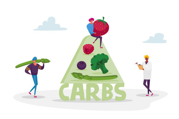 Ketogenic Diet Concept. Characters Bring Carb Products for Keto Dieting. Man with Asparagus, Woman Holding Huge Strawberry. Healthy Nutrition, Low Carbs Eating. Cartoon People Vector Illustration Ketogenic Diet Concept. Characters Bring Carb Products for Keto Dieting. Man with Asparagus, Woman Holding Huge Strawberry. Healthy Nutrition, Low Carbs Eating. Cartoon People Vector Illustration crucifers stock illustrations