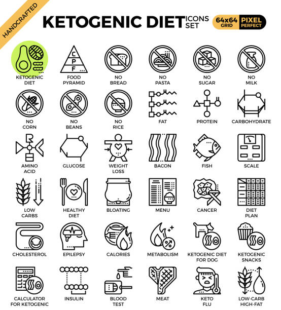 Ketogenic diet concept icons vector art illustration