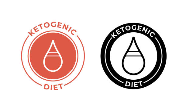 ketogenic diet drop icon. vector weight loss keto dietary food label - paleo diet stock illustrations, clip art, cartoons, & icons