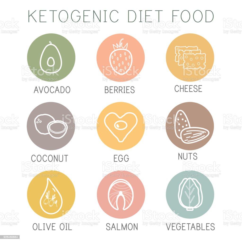 Ketogenic diet food, high healthy fats vector art illustration