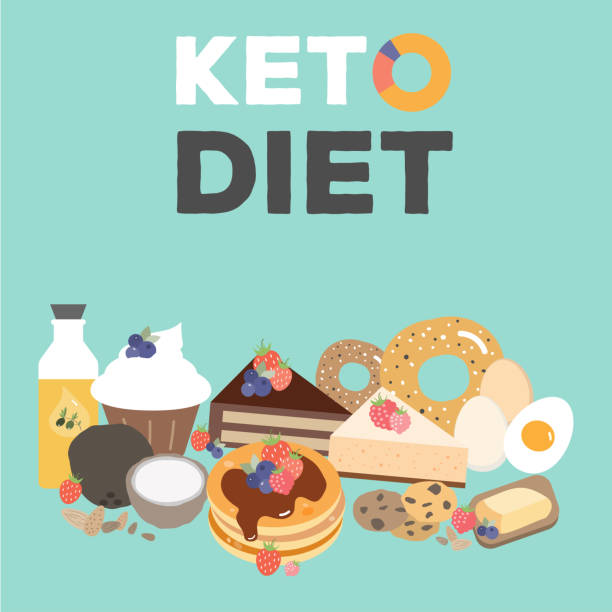 Ketogenic diet food, low carb desserts vector art illustration
