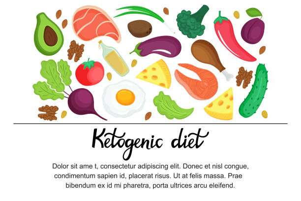 ilustrações, clipart, desenhos animados e ícones de bandeira horizontal da dieta ketogenic. low carb dieta paleo nutrição. proteína de refeição keto e gordura. - dieta paleo