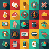 A set of keto diet icons. File is built in the CMYK color space for optimal printing. Color swatches are global so it's easy to edit and change the colors.