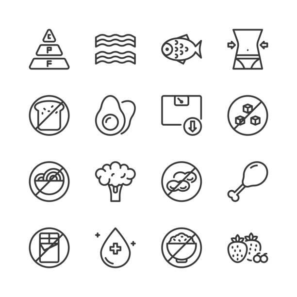 Ketogenic diet icon set.Vector illustration Ketogenic diet icon set.Vector illustration low carb diet stock illustrations