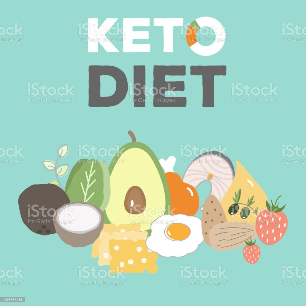 ketogenic diet, keto food, high fats, healthy heart food royalty-free ketogenic diet keto food high fats healthy heart food stock illustration - download image now