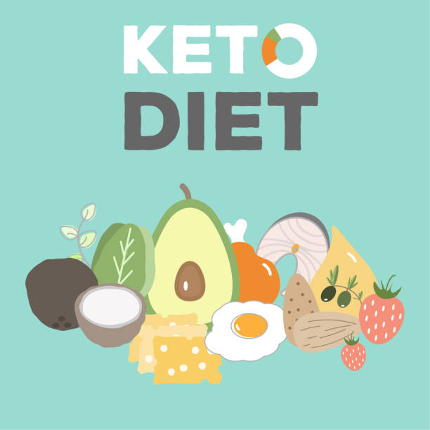 ketogenic diet, keto food, high fats, healthy heart food vector art illustration