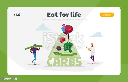 Ketogenic Diet Landing Page Template. Characters Bring Carb Products for Keto Dieting. Man with Asparagus, Woman Holding Huge Strawberry. Healthy Low Carbs Eating. Cartoon People Vector Illustration