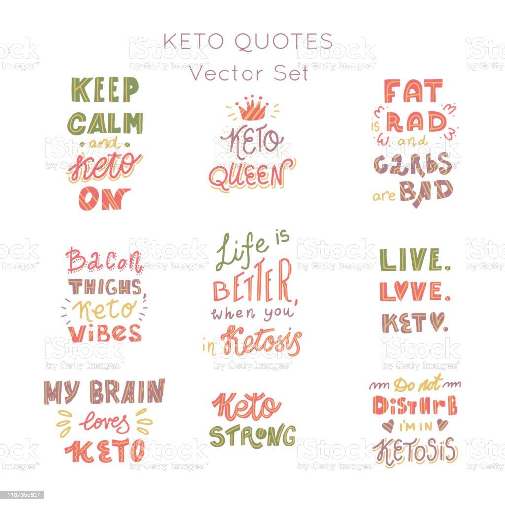 Dieta ketogenic lettering Vector Set - ilustração de arte em vetor