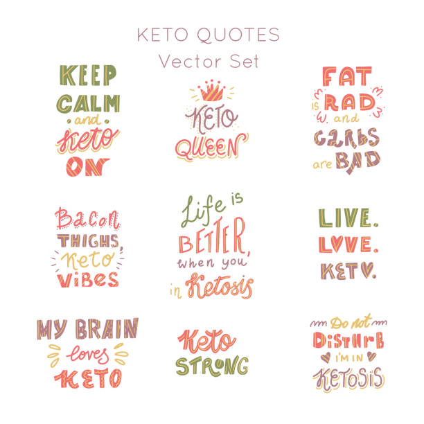 ilustrações, clipart, desenhos animados e ícones de dieta ketogenic lettering vector set - dieta paleo