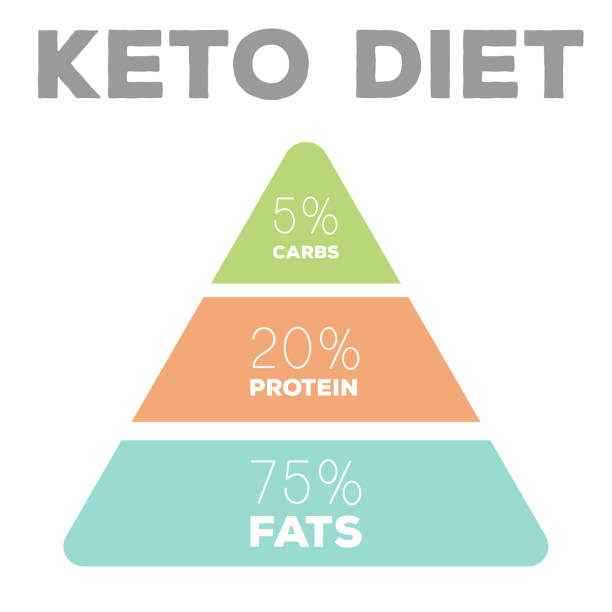 ketogenic diet macros pyramid diagram, low carbs, high healthy fat vector art illustration
