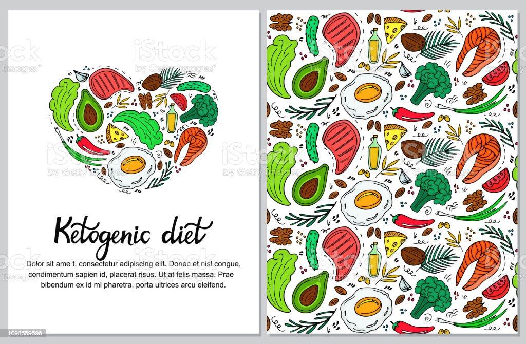 Banner vertical de dieta cetogênica desenhado na mão estilo doodle. Dieta baixa carb. Nutrição de paleo. Keto refeição proteína e gordura. Padrão sem emenda de alimentos saudáveis. - ilustração de arte em vetor