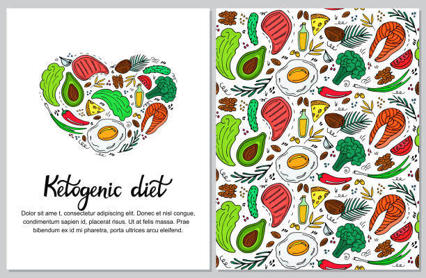 ilustrações, clipart, desenhos animados e ícones de banner vertical de dieta cetogênica desenhado na mão estilo doodle. dieta baixa carb. nutrição de paleo. keto refeição proteína e gordura. padrão sem emenda de alimentos saudáveis. - dieta paleo
