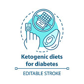 Ketogenic dietes for diabetes concept icon. Keto food idea thin line illustration. Healthy nutrition. Diabetic treatment. Balanced meal. Vector isolated outline drawing. Editable stroke
