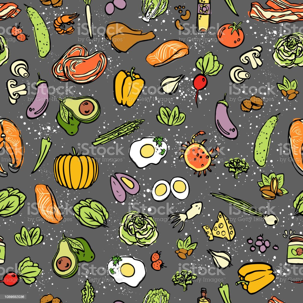 Ketogenic food vector seamless pattern, sketch. Healthy keto food - fats, proteins and carbs on endless vector pattern. Seamless Background with Low carbs keto diet food objects. Keto seamless pattern vector art illustration