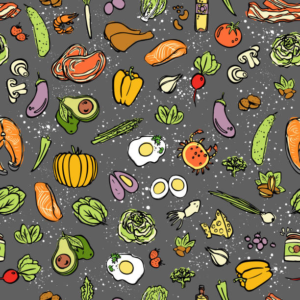 ketogenic food vector seamless pattern, sketch. healthy keto food - fats, proteins and carbs on endless vector pattern. seamless background with low carbs keto diet food objects. keto seamless pattern - paleo diet stock illustrations, clip art, cartoons, & icons