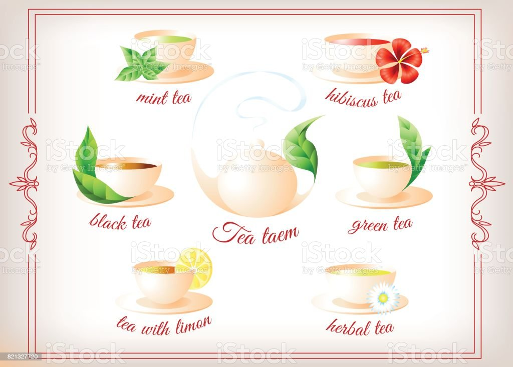 Kettle and tea collection vector art illustration