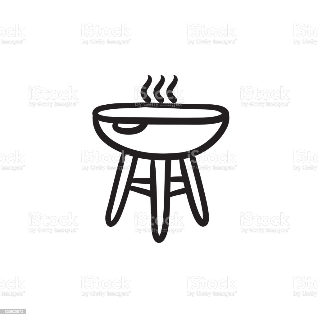 Kettle barbecue grill sketch icon vector art illustration