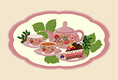 Background with teapot and Cup in the frame with berries.