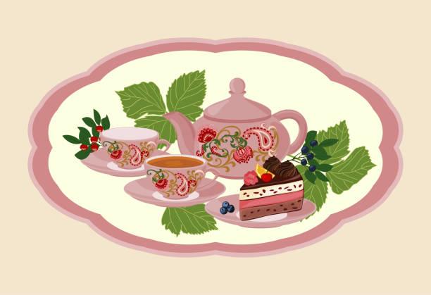 wasserkocher, tasse mit tee, kuchen und beeren. - tassenkuchen stock-grafiken, -clipart, -cartoons und -symbole