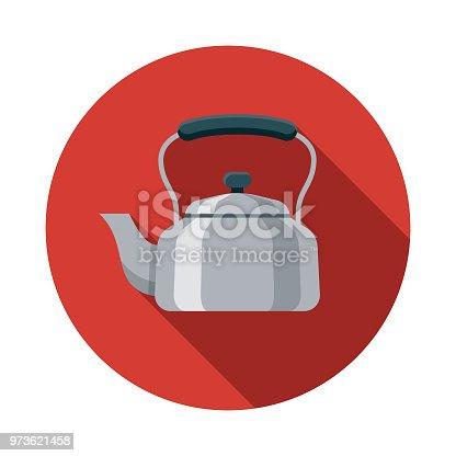 istock Kettle Flat Design Kitchen Utensil Icon 973621458
