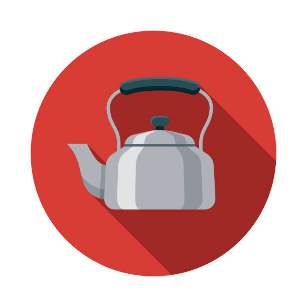 Kettle Flat Design Kitchen Utensil Icon A colored flat design kitchen utensil icon with a long side shadow. Color swatches are global so it's easy to edit and change the colors. teapot stock illustrations