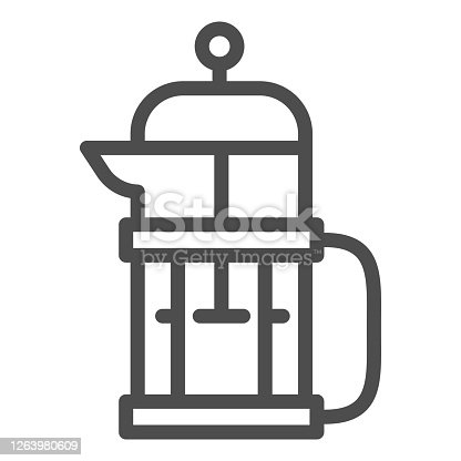 istock Kettle for brewing tea or coffee line icon, Coffee time concept, Teapot sign on white background, glass tea pot icon in outline style for mobile concept and web design. Vector graphics. 1263980609