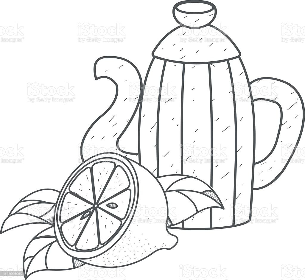 Ilustración De Cafetera Para Café O Cacao Con Limón Resumen El