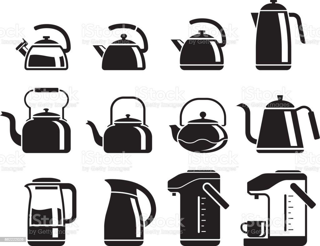 Wasserkocher-Symbole festgelegt. – Vektorgrafik