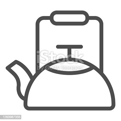 Kettle line icon, Coffee time concept, teapot sign on white background, kitchen kettle icon in outline style for mobile concept and web design. Vector graphics
