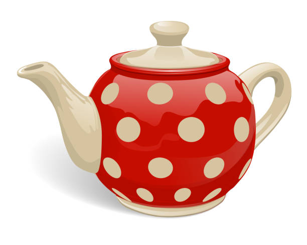 Kettle red polka dot Realistic ceramic teapot. Red with beige peas. Isolated on white background. Vector illustration. teapot stock illustrations