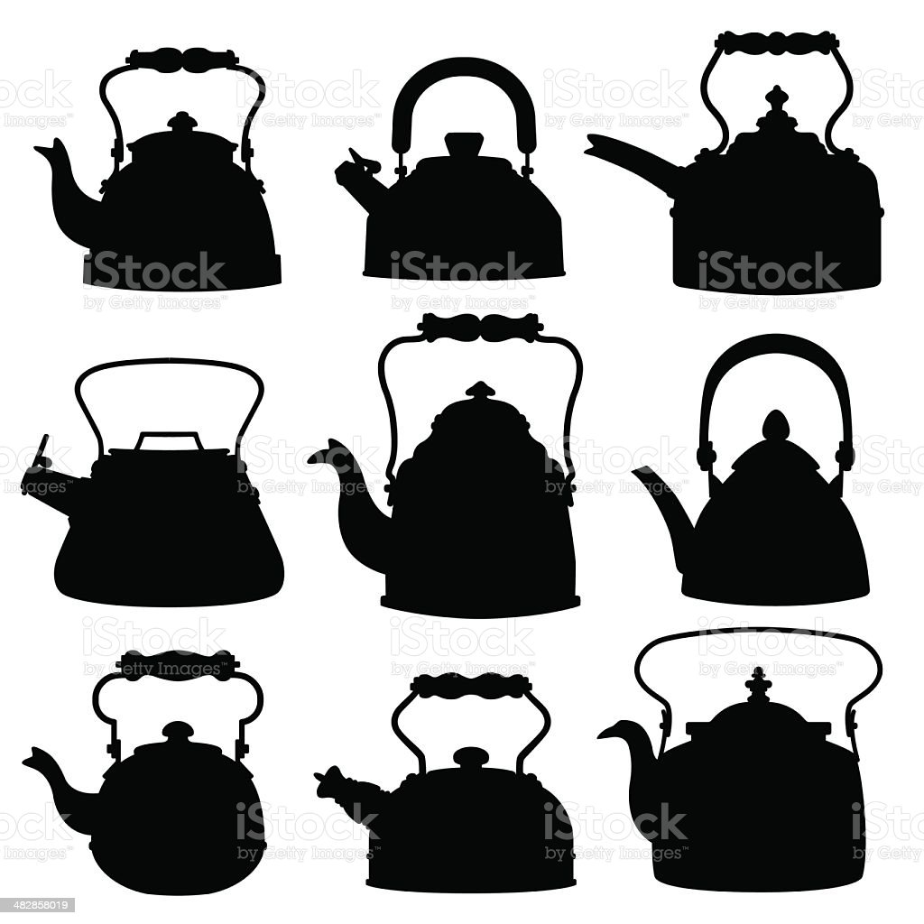 Kettle Silhouettes royalty-free kettle silhouettes stock vector art & more images of black color