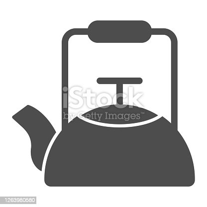 Kettle solid icon, Coffee time concept, teapot sign on white background, kitchen kettle icon in glyph style for mobile concept and web design. Vector graphics