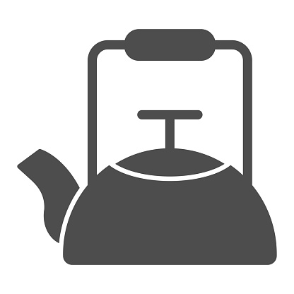 Kettle solid icon, Coffee time concept, teapot sign on white background, kitchen kettle icon in glyph style for mobile concept and web design. Vector graphics.