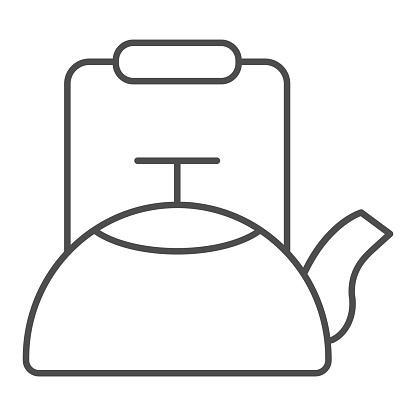 Kettle thin line icon, Coffee time concept, teapot sign on white background, kitchen kettle icon in outline style for mobile concept and web design. Vector graphics.